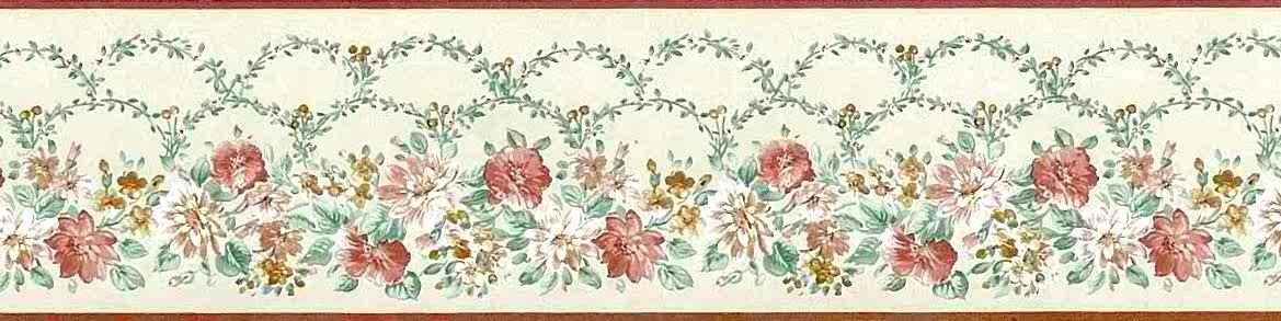 John Wilman Vintage Floral Wallpaper Border in Cream