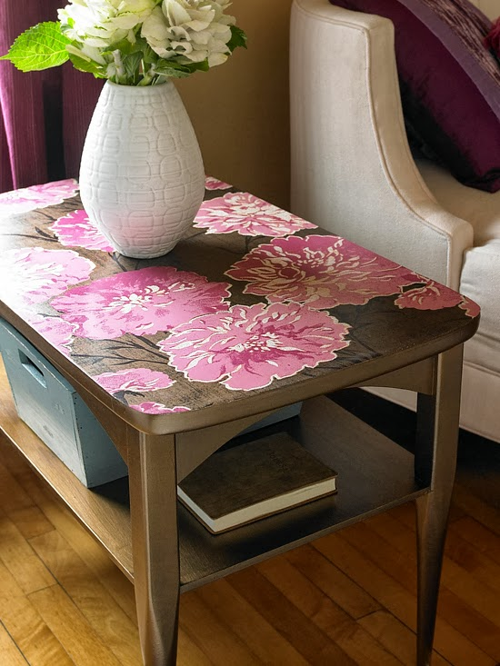 Holiday Season Table Top decorated with Floral Wallpaper