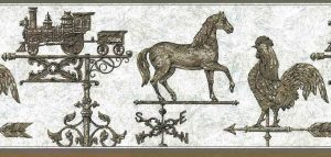Vintage Weathervane Wallpaper Border, Brown, Gray & Black