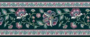 Vintage Green Paisley Wallpaper Border, rose & Slate Blue