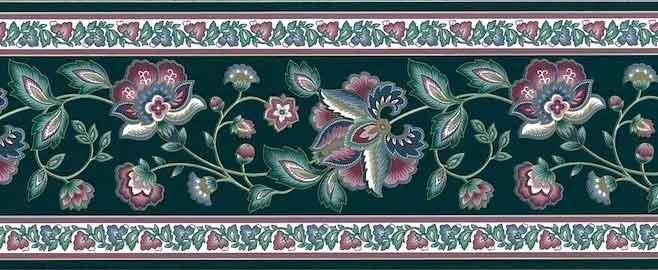 Vintage Green Paisley Wallpaper Border, rose & Slate Blue