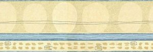 Egg Shapes vintage Wallpaper Border, Taupe, Cream, Blue