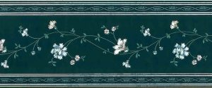 Vintage Green floral Stencil Wallpaper Border, White, Pink, Blue