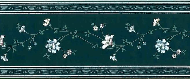 Vintage Green floral Stencil Wallpaper Border, White, Pink, Blue