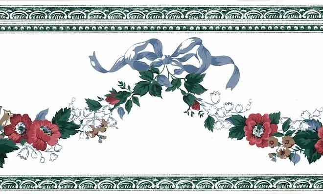 Waverly Floral Swag Vintage Wallpaper Border, Blue Ribbon, Red, White