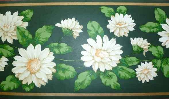 Shasta Daisies Vintage Wallpaper Border in Dark Green, White, & Gold