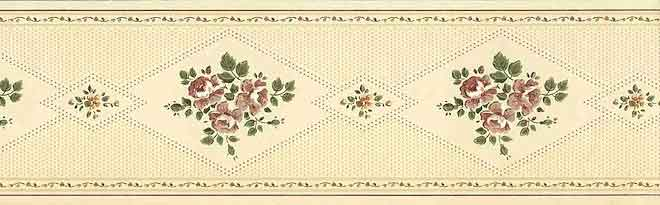 Cream Sampler Wallpaper Border with Flowers, Dots & Hearts