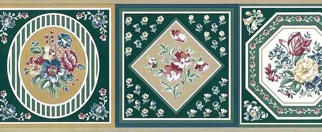 Green Sampler vintage Wallpaper Border, framed flowers, pink, taupe