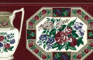 Plate Pitcher vintage Wallpaper Border, Waverly, flowers, vines, cranberry