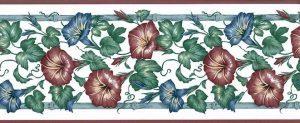 Blue morning Glories vintage Wallpaper Border, Red, White, cottage, trellis