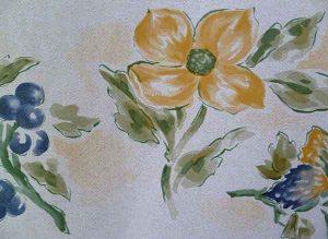 Yellow Floral vintage Wallpaper Border, flowers, parchment, fruit, green, blue
