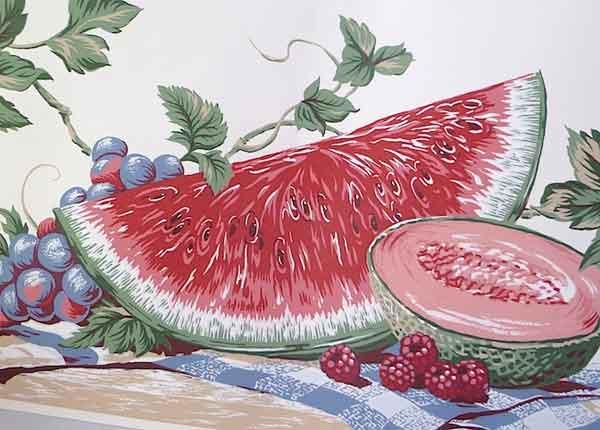 Picnic Wallpaper Border, Watermelom, red, green, white