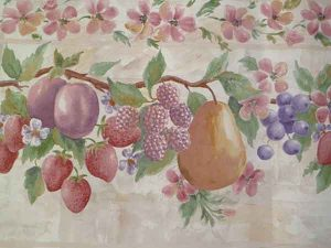 Pink Fruit Vintage Wallpaper Border, Lattice, Trellis