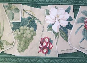 Green Botanical Wallpaper Border with aged photos on woven background