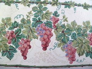 Glazed Grapes Vintage Wallpaper Border in White, Green & Rose