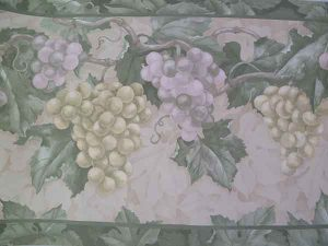 Vintage Green Grapes Wallpaper Border on Cream background
