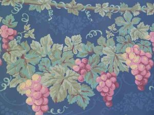 Navy Brocade Wallpaper Border with Ivy Grapes