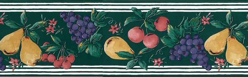 Green Fruit Medley Wallpaper Border with pears, grapes, & cherries