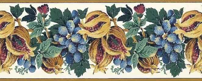 Unique Pomegranates Vintage Wallpaper Border in Blue, White & Tan