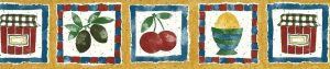 Gold Vintage Wallpaper Border, Food Items, blue, red, checks