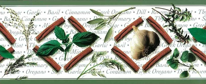 Herbs Vintage Wallpaper Border in green, brown and white