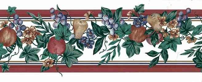 Vintage Fruit Wallpaper Border with dark red striped edges