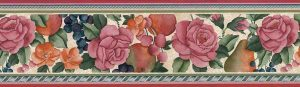 Fruit Floral Vintage Wallpaper Border in Pinks & Greens