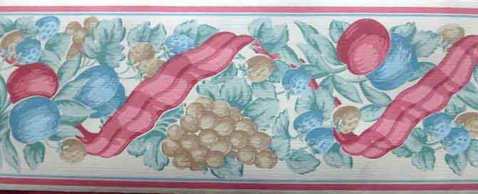 Ribbon Fruit vintage Wallpaper Border, pink, blue, taupe