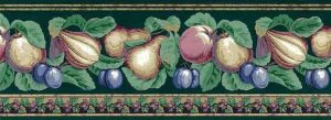 Marbleized Fruit vintage Wallpaper Border, Dark Green, purple, yellow
