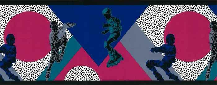 Vintage Skater Wallpaper Border in Blue, Green, Fuchsia & Gray