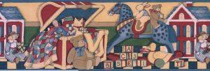 Antique Toys Vintage Wallpaper Border in Creamy Tan