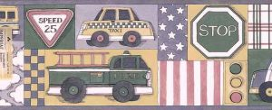 Vehicles Vintage Wallpaper Border with plaid, stripes, checks & stars