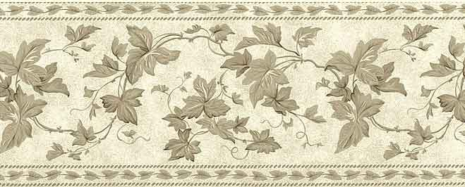 Waverly Ivy Vintage Wallpaper Border with Taupe Vine Branches