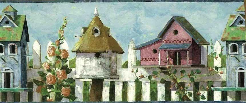 Bird Houses Vintage Wallpaper Border Picket Fence Fa6180