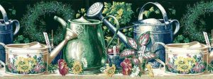 Watering Cans Vintage Wallpaper Border in Garden Green