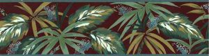 Vintage Tropical Leaves Wallpaper Border, Sage Green, Brick Red