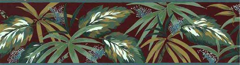 Vintage Tropical Leaves Wallpaper Border, Sage Green, Brick Red