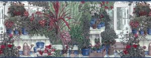 Vintage Greenhouse Wallpaper Border in Green, Red, Blue & White