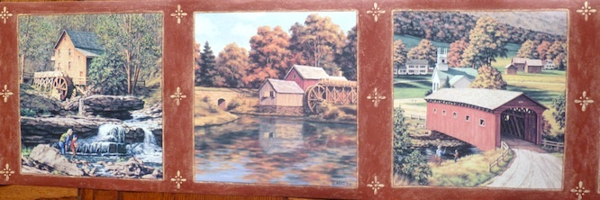 Autumn Scene Vintage Wallpaper Border with a Covered Bridge and Old Mills