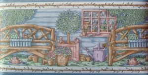 Colors of spring Wooden Benches Vintage Wallpaper Border with Topiaries
