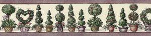 Topiaries Vintage Wallpaper Border in Cream, Rose, & Green