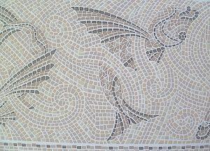 Mosaic Tile Vintage Wallpaper Border, Fish Pattern, Taupe, Beige, Gray