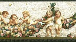 Cupids Vintage Wallpaper Border with floral swags, ribbon, & bronze edging