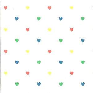 childrens hearts vintage wallpaper,red,green,blue,yellow,kids,nursery,bedroom,playroom