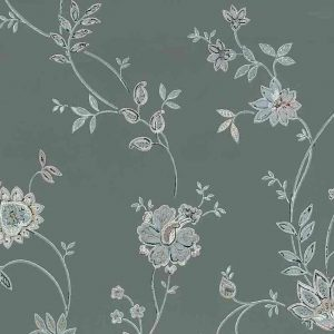 gray floral vintage wallpaper, pink, blue, art nouveau, jacobean, flowers, paisley