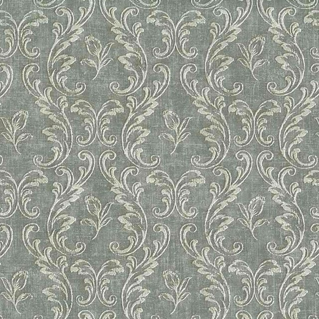 damask wallpaper gray white, scrolls, dining room, living room, bedroom, textured