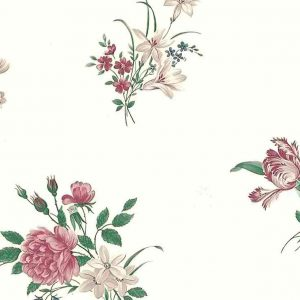 peonies tulips vintage wallpaper, pink, rose, blue, green, cream, parrot tulips, cottage
