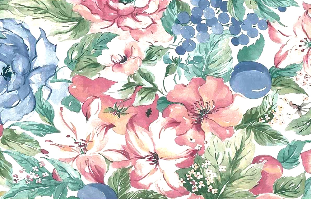 Hibiscus floral vintage wallpaper,fruit, grapes, plums, pink, blue, green, white