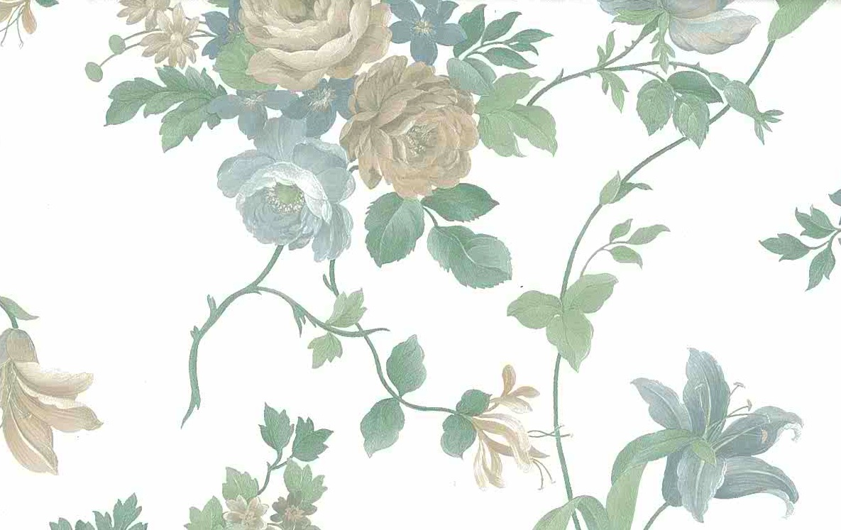 Waverly pearlized floral vintage wallpaper, beige,white, green, textured, embossed, Italy