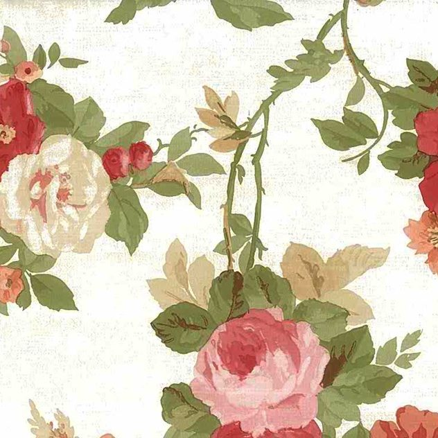 poppies floral vintage wallpaper, roses, peonies, red, orange, pink green, white, cottage style